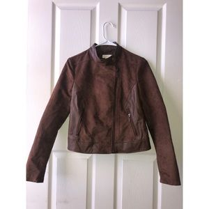 NORDSTROM BROWN LEATHER JACKET SIZE S